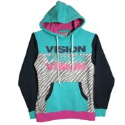 Womens You Iz Pullover Hoodie, Teal/Navy/Grey, M