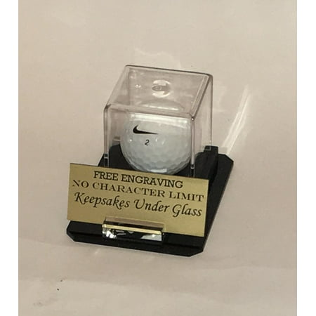 Golf Ball Personalized Hole In One Acrylic Display Case - Holder - Octagon Base, Custom Ball and Nameplate Stand