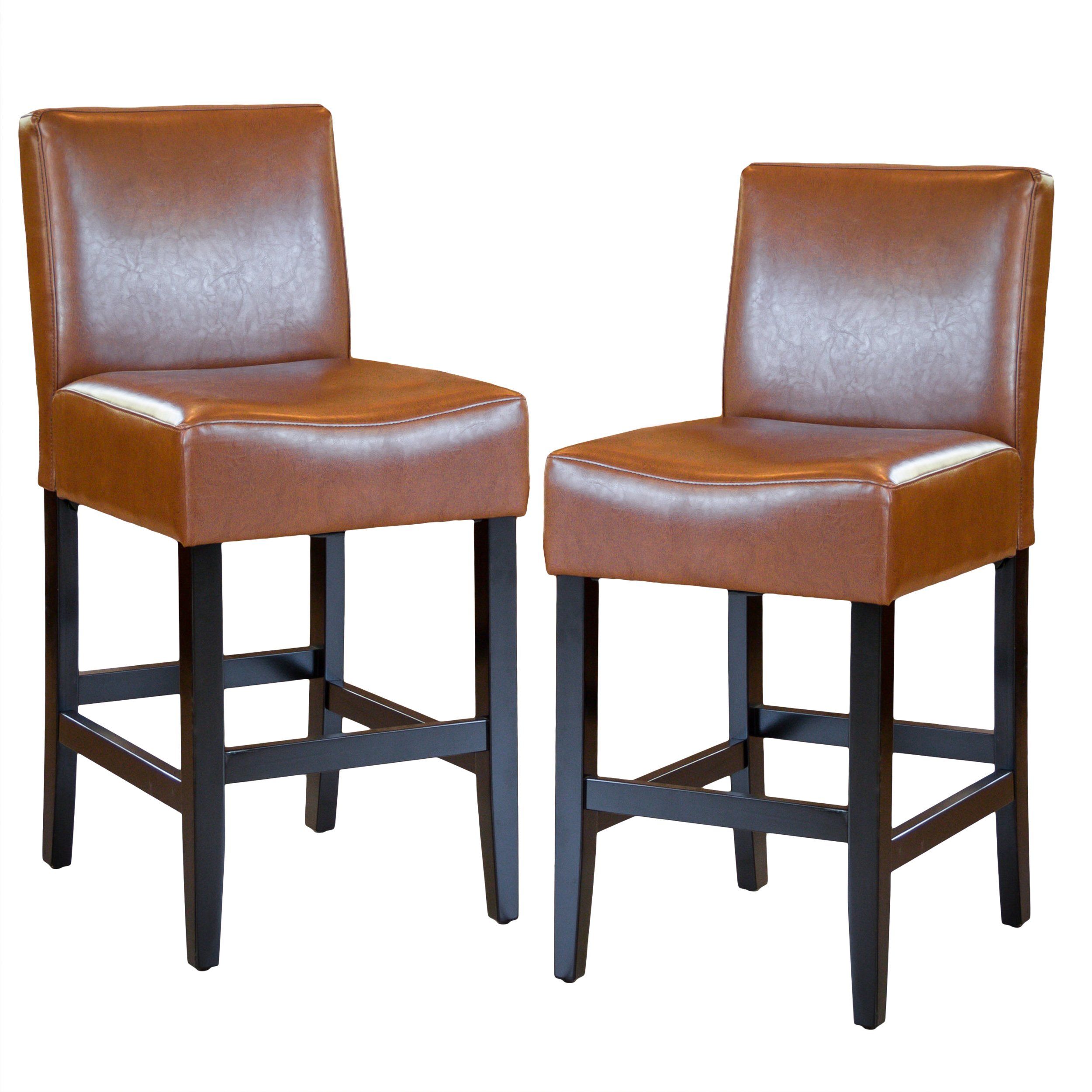 "Skyland Hazelnut Bonded Leather 26"" Counter Stools (Set of 2)"
