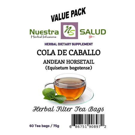 Horsertail Filter Tea Cola de Caballo Value Pack (60 tea (Cla Green Tea)