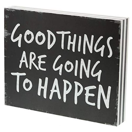"Barnyard Designs Good Things are Going to Happen Box Sign Vintage Primitive Country Positive Quotes Home Wall Decor 10"" x 8"""