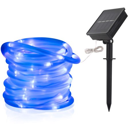 33FT/10M 100-LEDs Solar Powered Waterproof LED Tube Light Lamp Fairy String (Chasing Rope Light Controller)
