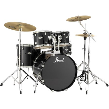 pearl soundcheck complete 5 pc drum set with hardware and zildjian planet z cymbals jet black. Black Bedroom Furniture Sets. Home Design Ideas
