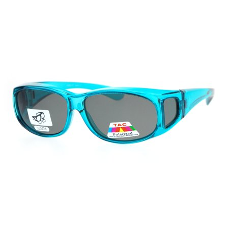 Polarized 55mm Rectangular Fit Over Plastic Sunglasses Teal](Teal Sunglasses)