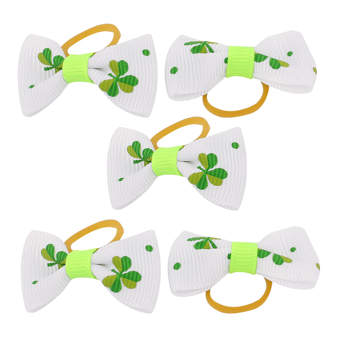 Pet Dog Clover Pattern Hair Grooming Rubber Bands Clips Hairpins 5 Pcs White
