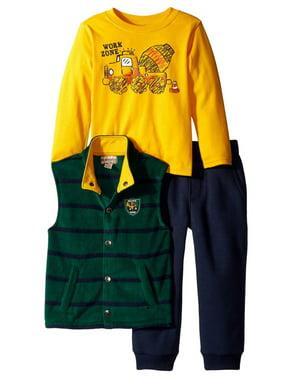 Kids Headquarters Infant Toddler Boys 3 Piece Work Zone Shirt Pants Vest