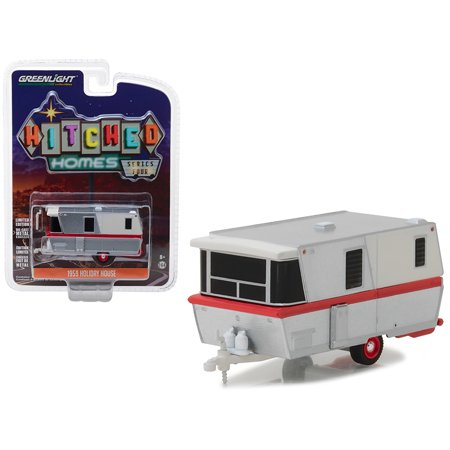 1959 Holiday House Travel Trailer Silver with Red Stripe Hitched Homes Series 4 1/64 Diecast Model by -