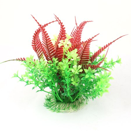 White Round Ceramic Base Plastic Aquatic Plant Ornament 4.7