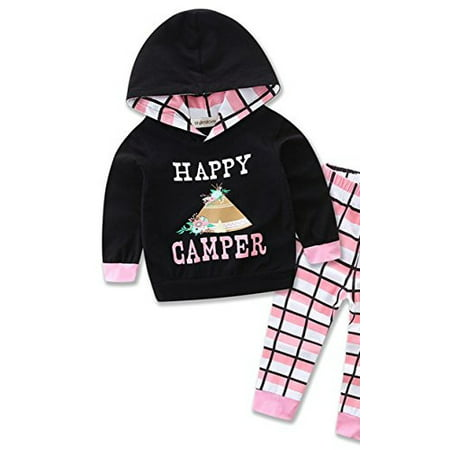 StylesILove Newborn Infant Toddler Baby Girl Happy Camper Long Sleeve Hoodie and Plaid Pants Casual Clothing Set 2-piece (70/3-6 Months)