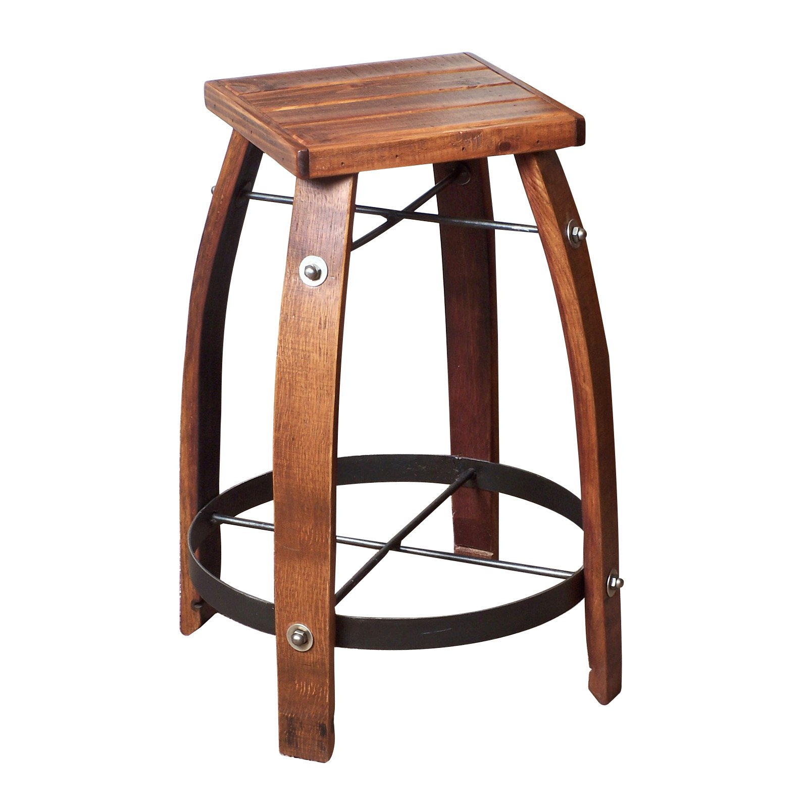 2 Day Designs Reclaimed 28-Inch Stave Wine Barrel Bar Stool with Wood Seat