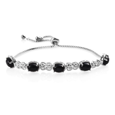 KARIS Collection Shop LC Delivering Joy Stylish Unique Stainless Steel Platinum Plated Oval Black Onyx Bolo Bangle Bracelet for Women Jewelry Mothers Day Gifts