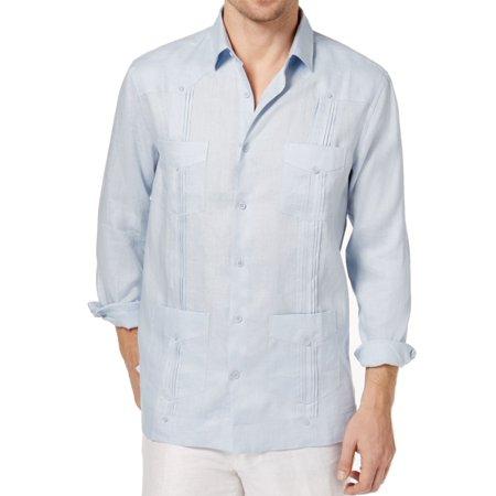 (Tasso Elba Cloud Mens Pleated Linen Guayabera Shirt)