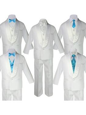 HOT Boy White Shawl Lapel Wedding Suits Tuxedo TURQUOISE Satin Bow Necktie Vest