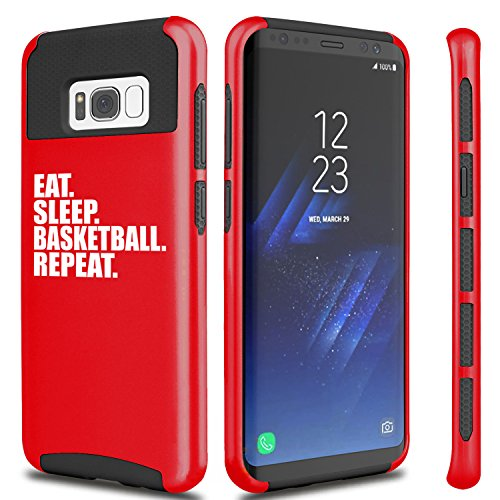 For Samsung Galaxy Shockproof Impact Hard Soft Case Cover Eat Sleep Basketball Repeat (Red For Samsung Galaxy S8+ (Plus))