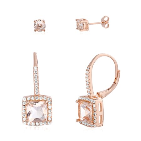 Engagement Simulated Earring - Simulated Morganite & Cubic Zirconia Stud & Dangling Square Lever Back Duo Earring Set in Rose Gold over Brass