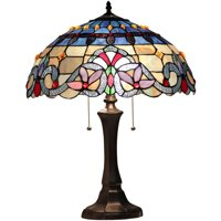 "Chloe Lighting Grenville Tiffany-Style 2-Light Victorian Table Lamp with 16"" Shade"