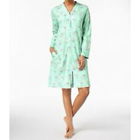 Charter Club Plus Size Women's Cotton Knit Robe Green Wild Flowers - Charter Club Cotton Robe