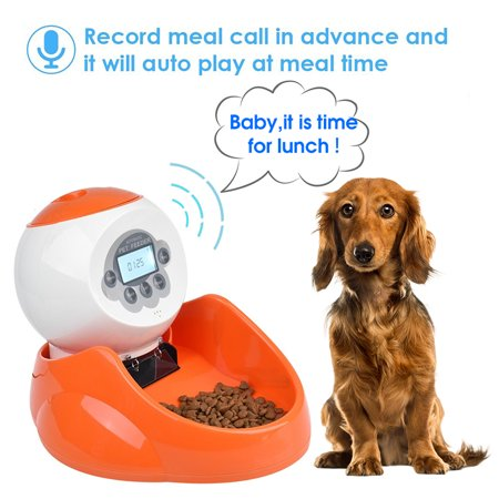 Automatic Pet Dog Cat Feeder Food Bowl - Programmable Voice Recorder, Timed Portions, Meal