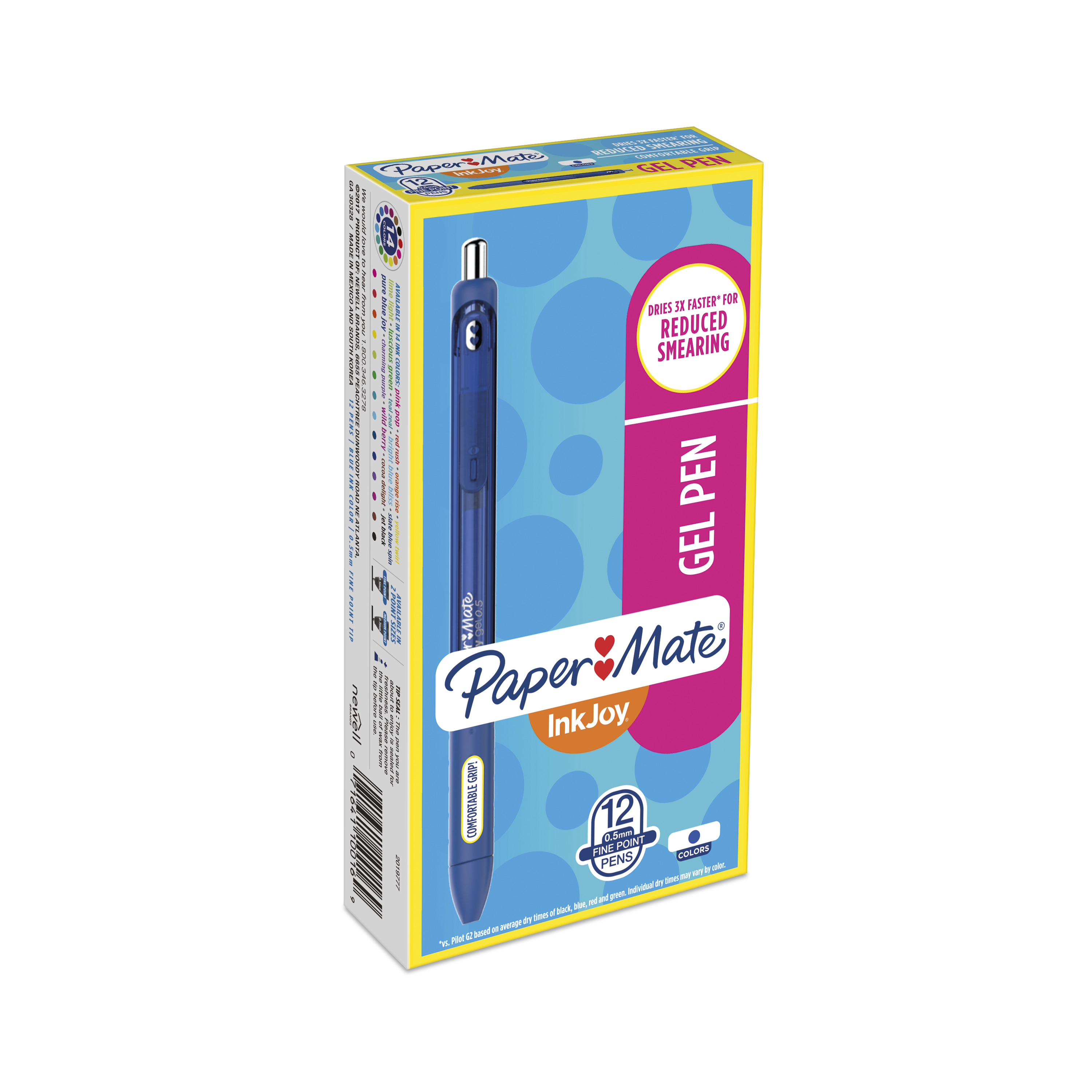 Paper Mate InkJoy Gel Retractable Pen, 0.5mm, Blue Ink, Dozen