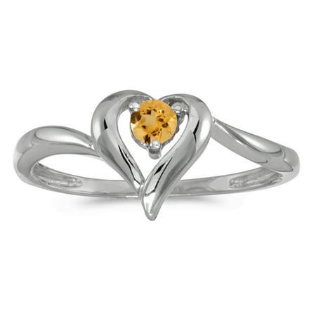 - 14k White Gold Round Citrine Heart Ring
