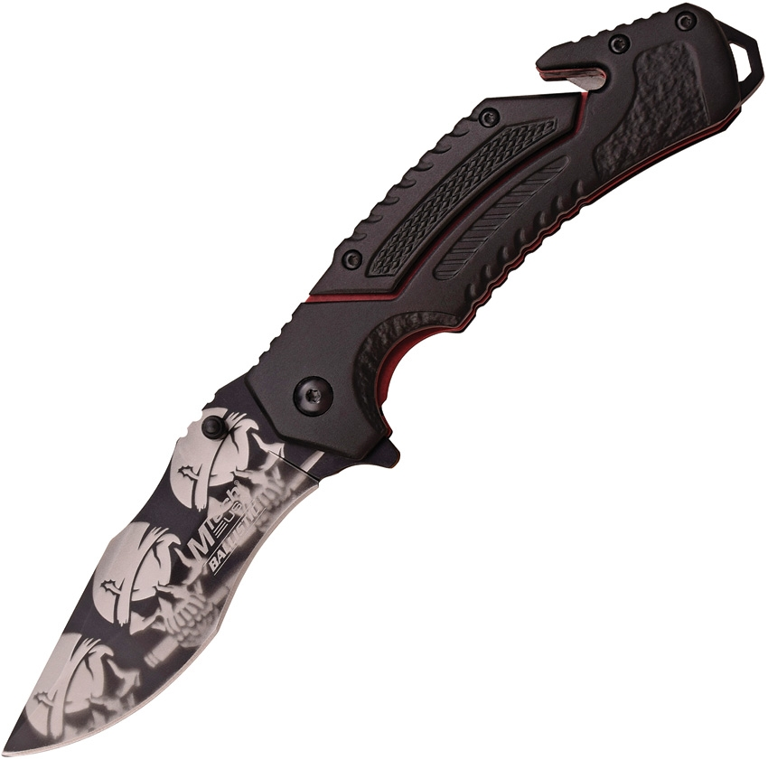 "MTech MTA915SK Folding Knife A/O Black 3.5"" Skull Blade/Blk Handle w/Red Liners"