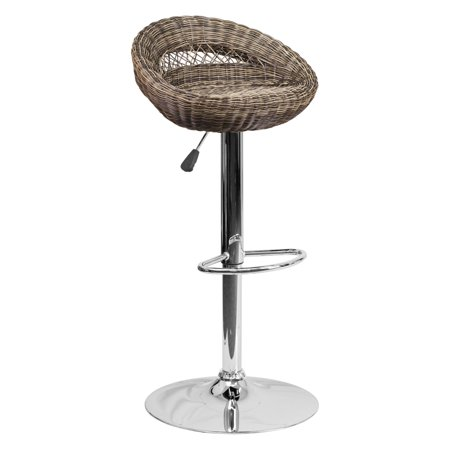 Flash Furniture Contemporary Wicker Rounded Back Adjule Height Barstool With Chrome Base