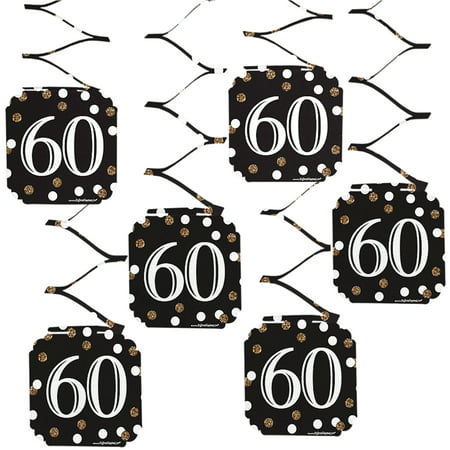 Adult 60th Birthday - Gold - Birthday Party Hanging Decorations - 6 Count (60th Birthday Decorations Cheap)