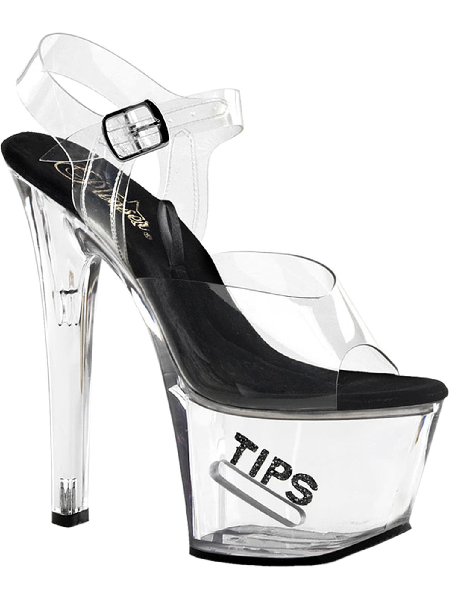 Womens Stripper TipJar Sexy Dancer Shoes Platform Stripper Womens Sandals Clear Black Glitter 62f4c1