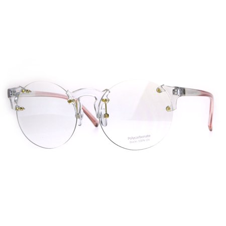Unique Rimless Round Circle Clear Lens Eye Glasses Pink - Baby Eyes Grey Halloween Contact Lenses