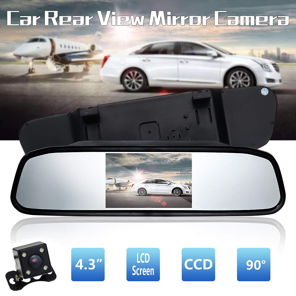 "4.3/"" Car TFT LCD Monitor Mirror+wired Reverse Car Rear View Backup Camera Kit"