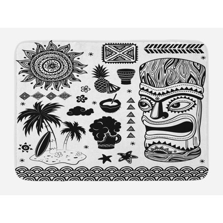 Tiki Bar Bath Mat, Tribal and Ethnic Composition Palms Pineapple Paradise Vintage Ancient Figure, Non-Slip Plush Mat Bathroom Kitchen Laundry Room Decor, 29.5 X 17.5 Inches, Black White, Ambesonne