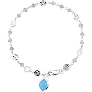 """Sterling Silver Labradorite & Blue Chalcedony 7.5"""" Bracelet by"""