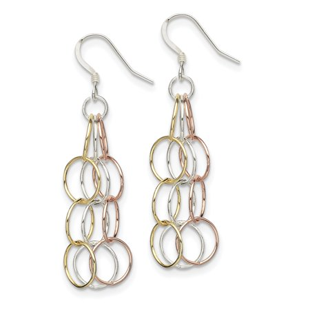 925 Sterling Silver Tri Color Yellow White Golded Vermeil Drop Dangle Chandelier Earrings Fine Jewelry Ideal Gifts For Women Gift Set From Heart Gold Vermeil Chandelier Earrings