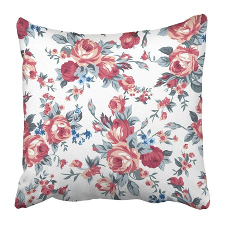 ECCOT Colorful Floral Shabby Chic Granny Vintage Chintz Roses in Seamlessly Pattern Accent Pillowcase Pillow Cover 16x16 (Vintage Granny)