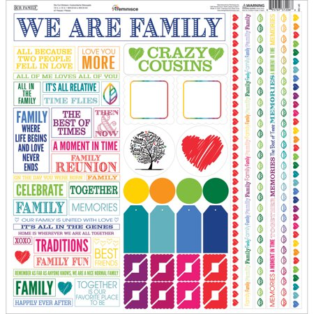 Embossed Cardstock Stickers (Our Family Cardstock Multi Stickers, 12