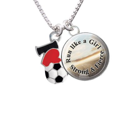 (I love Soccer - Red Heart Run Like a Girl Glass Dome Necklace, 18
