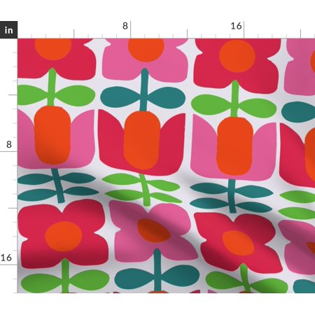 Danish Flowers Modern Hot Pink Red Green Fabric Printed by Spoonflower BTY