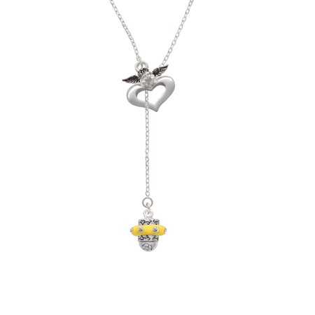 Crystal Yellow Spinner - Guardian Angel Lariat Necklace - Guardian Angel Necklace