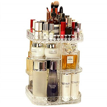 Crystal Clear Cosmetics - 360 Lazy Susan Makeup Organizer, Square Bathroom Shelf Revolving Countertop Tower Display Case Cosmetic Storage Holder, Crystal Clear