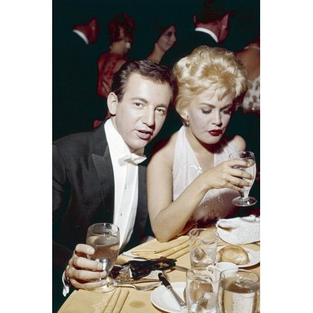 Sandra Dee Grease (Bobby Darin wit wife Sandra Dee in evening dress at Hollywood event 24x36)