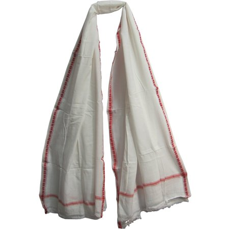 White Indian Cotton Yoga Meditation Prayer Shawl Wrap Scarf Fabric (47