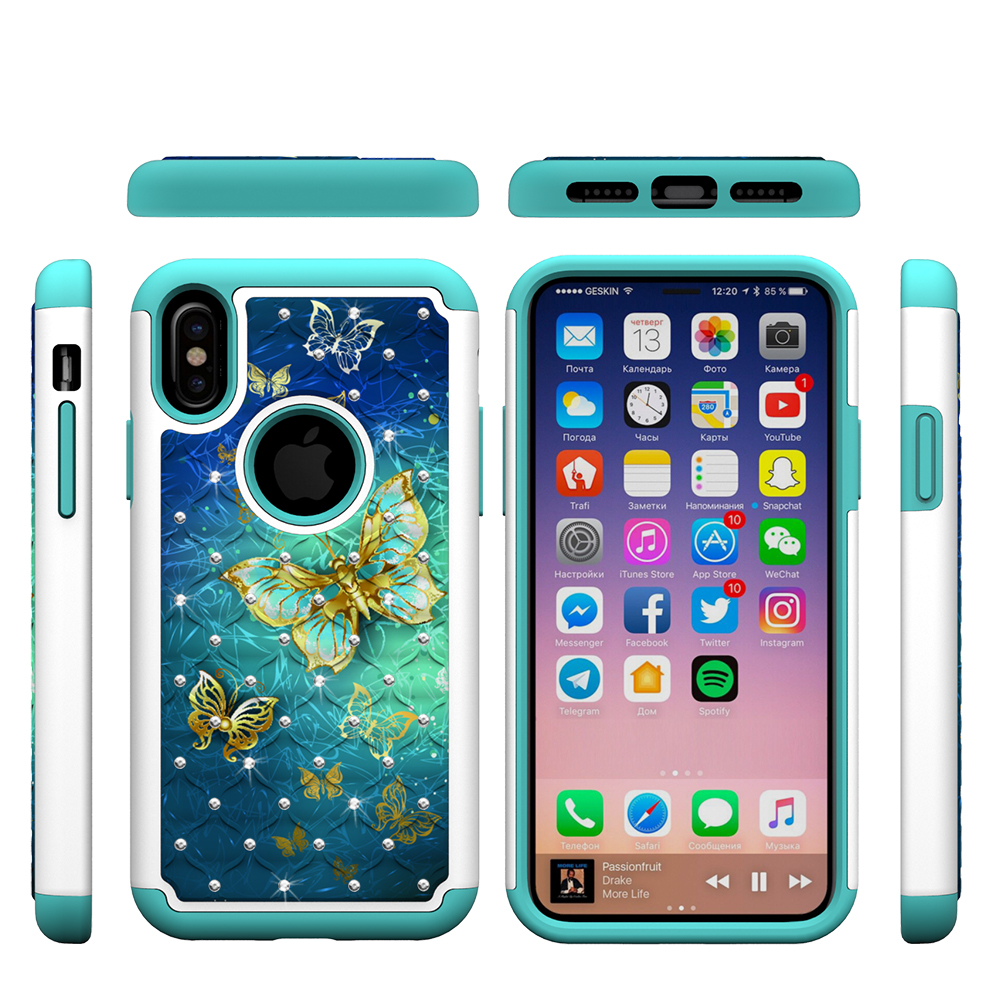 """iPhone X Case, Allytech Slim Lightweight Drop Protection Shockproof Armor Bumper Diamond Cute Pattern Case Cover for Apple iPhone X 6.1"""" 2017 Released, Gold Buttefly"""