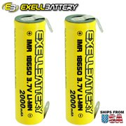 2pc IMR 18650 3.7V LiMN 2000mAh Rechargeable Battery w/ SOLDER TABS US STOCK