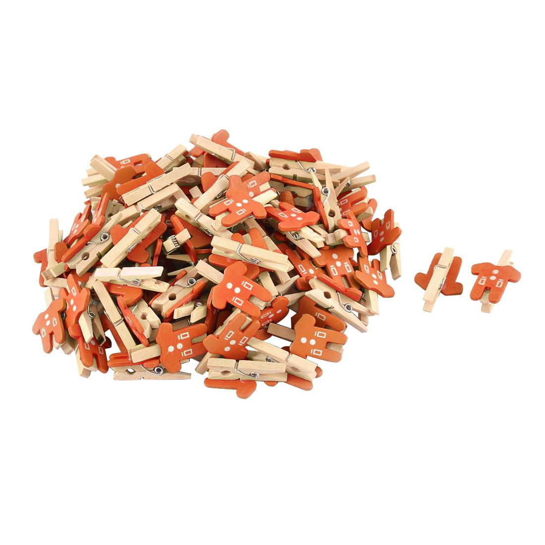 Unique Bargains Card Photo Paper Clothes Shape Crafts  Wooden Clip Peg Orange 100pcs