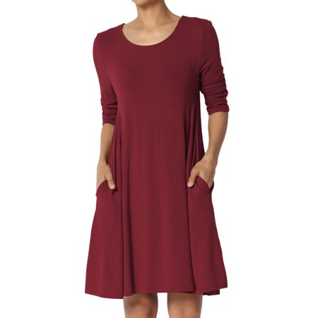 TheMogan Women's S~3XL Basic 3/4 Sleeve Swing Flared Tunic Dress Pocket Long - Red Damask Dress