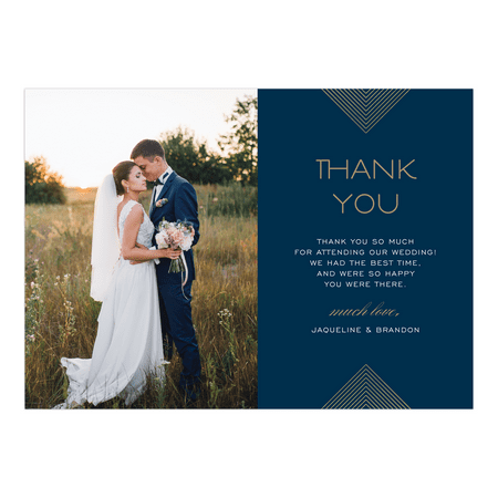 Personalized Wedding Thank You Card - Modern Geo - 5 x 7 Flat - Walmart com