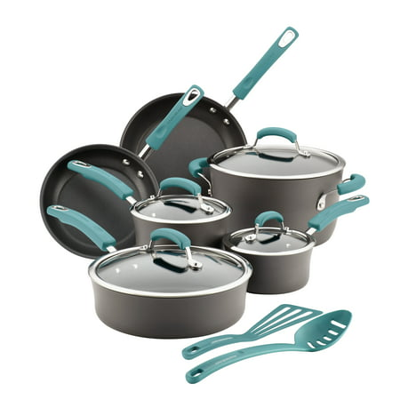 - Rachael Ray Hard-Anodized Nonstick 12-Piece Cookware Set, Gray with Agave Blue Handles