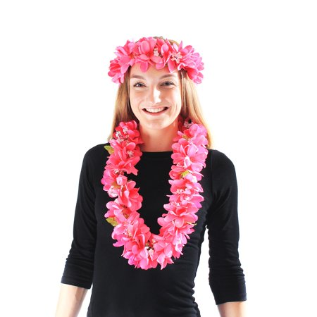 Hawaii Luau Party Artificial Fabric Plumeria Lei and Head Band Haku Set Pink