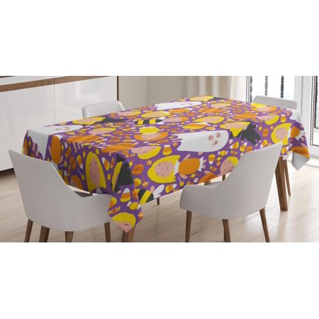 Ghost Tablecloth, Cheerful Kids in Different Halloween Costumes Happy Fun Party Trick or Treat Night, Rectangular Table Cover for Dining Room Kitchen, 52 X 70 Inches, Multicolor, by Ambesonne