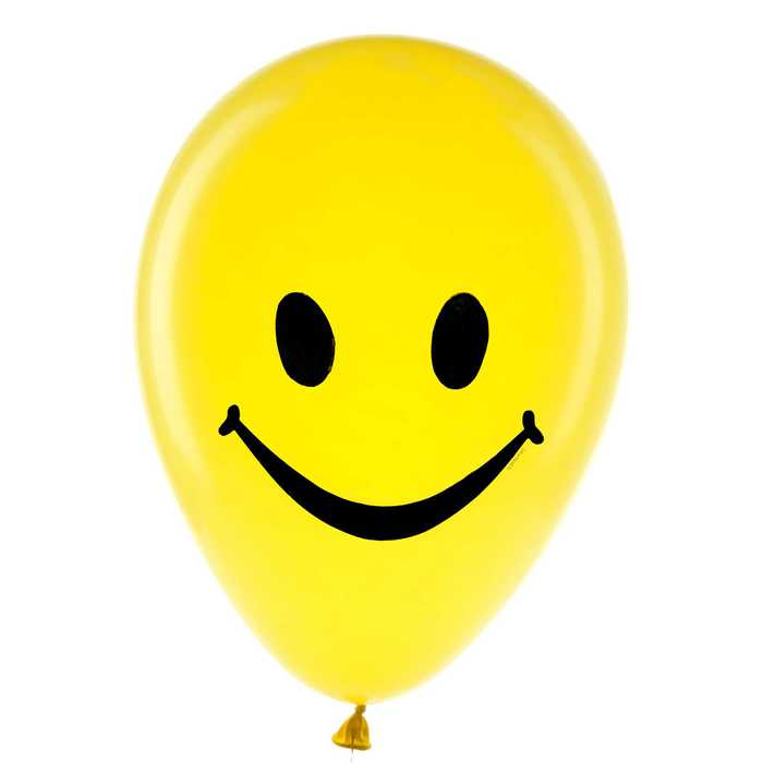 """12"""" Yellow Smiley Face Balloons Party Favor Supplies Treat Bag Prizes 10 Count"""